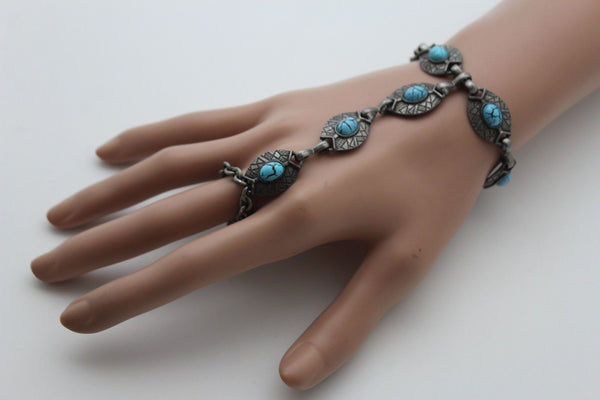Dark Silver Metal Bracelet Slave Ring Turquoise Blue Oval New Women Jewelry Accessories