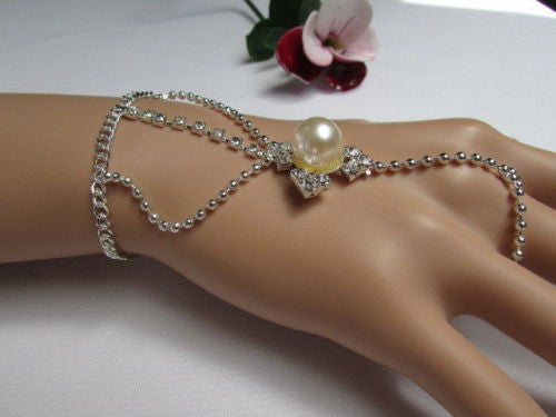Silver Metal Hand Chain Bracelet Slave Ring Imitation Pearl Cream Beads New Women Accessories