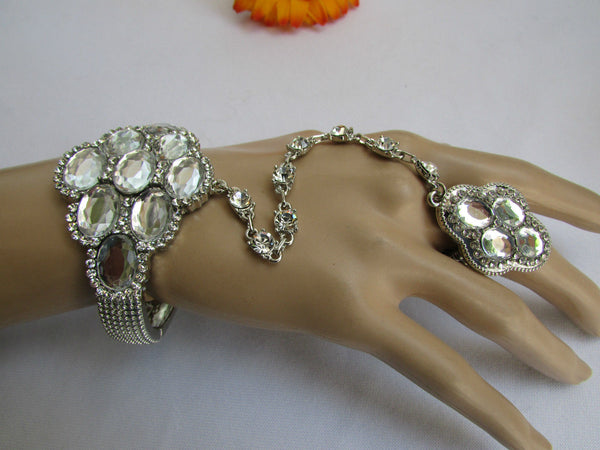 Silver Metal Hand Chain Bracelet Slave Ring Rhinestones Beads Flower New Women Accessories