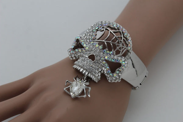 Silver Metal Hand Cuff Bracelet Skeleton Skull Pirate Spider Web Women Fashion Accessories