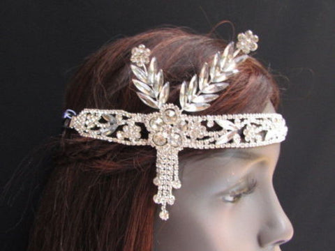 Silver Metal Head Chain Long Leaves Rhinestones New Women Fashion Jewelry Hair Accessories