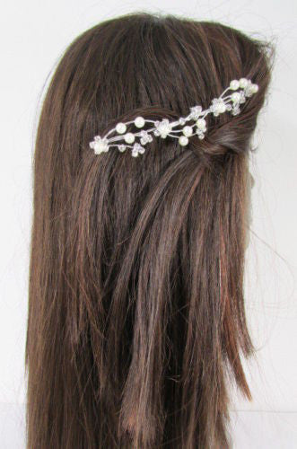 Silver Metal Head Pin Flower Multi Rhinestones New Women Fashion Jewelry Hair Accessories