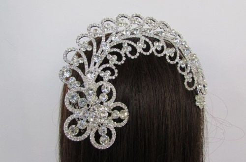 Silver Metal Head Pin Long Big Flower Leaves Rhinestone New Women Fashion Jewelry Accessories