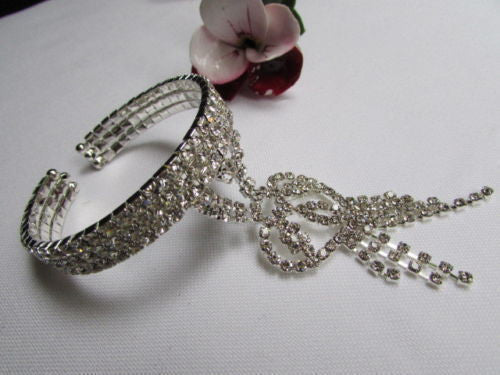 Silver Metal Heart Bracelet Multi Rhinestones Wedding Style New Women Fashion Accessories