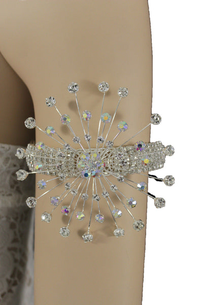 Silver Metal High Upper Arm Cuff Bracelet Rhinestones Fancy Flower Women Accessories