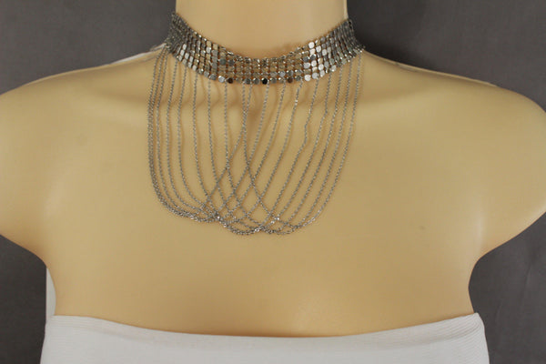 Silver Metal Long Fringes Multi Strings Mesh Cool Choker Necklace New Women Fashion Accessories