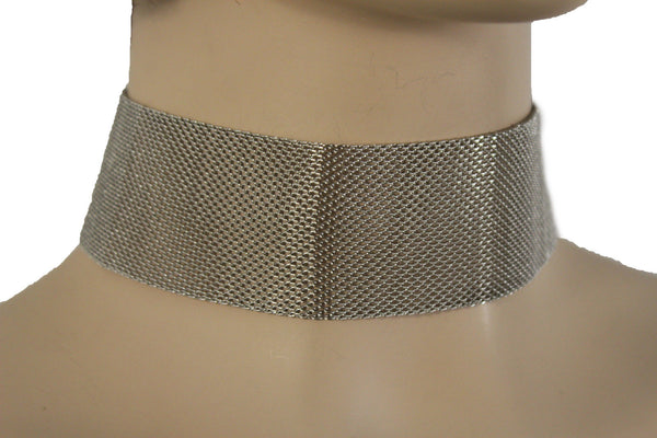 Silver Metal Mesh Wide Strand Strap Short Dressy Choker Necklace New Women Fashion Accessories