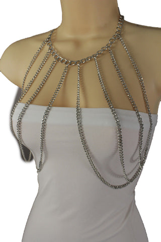 Silver Metal Multi Waves Top Body Chains Long Necklace Sexy Bra New Women Fashion Accessories