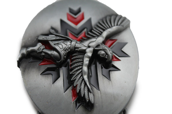 Silver Metal Native American Indian Dance Warrior Oval Belt Buckle Men Women Fashion Accessories