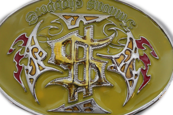 Silver Metal Oval Yellow Famous Choppers Western Motorcycle Biker Belt Buckle Men Accessories