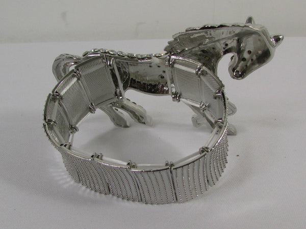 Silver Metal Bracelet Pony Horse Elastic Multi Rhinestones New Women Fashion Jewelry Accessories - alwaystyle4you - 5