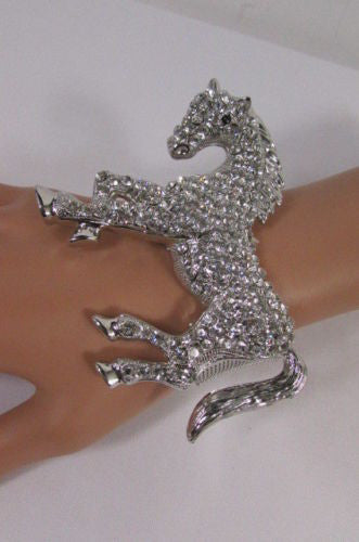 Silver Metal Bracelet Pony Horse Elastic Multi Rhinestones New Women Fashion Jewelry Accessories - alwaystyle4you - 12