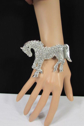Silver Metal Bracelet Pony Horse Elastic Multi Rhinestones New Women Fashion Jewelry Accessories - alwaystyle4you - 1