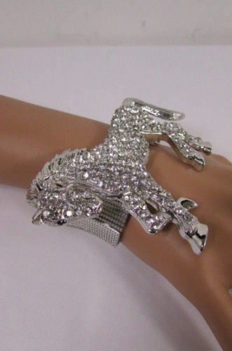 Silver Metal Bracelet Pony Horse Elastic Multi Rhinestones New Women Fashion Jewelry Accessories - alwaystyle4you - 2