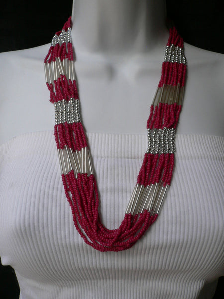 "Silver Metal Red Silver Beads Chic 12"" Drop Necklace African Style New Women Fashion Accessories"