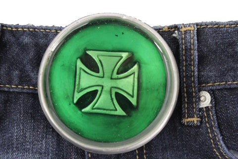 Silver Metal Round Gothic Iron Cross Heavy Green Belt  Buckle New Men Fashion Accessories