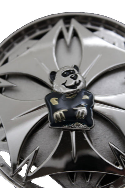 Silver Metal Round Shape Spinning Large Size Panda Bear Belt Buckle New Men Women Accessories