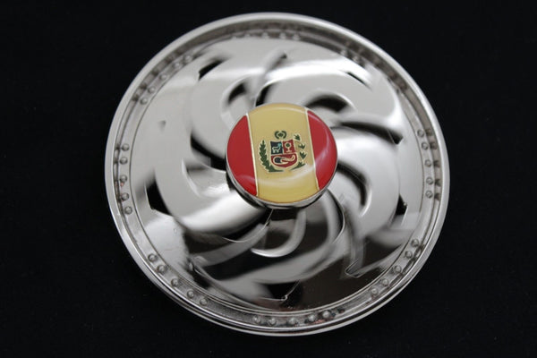 Silver Metal Round Shape Spinning Large Size Spain Flag Belt Buckle Men Women Rodeo Accessories