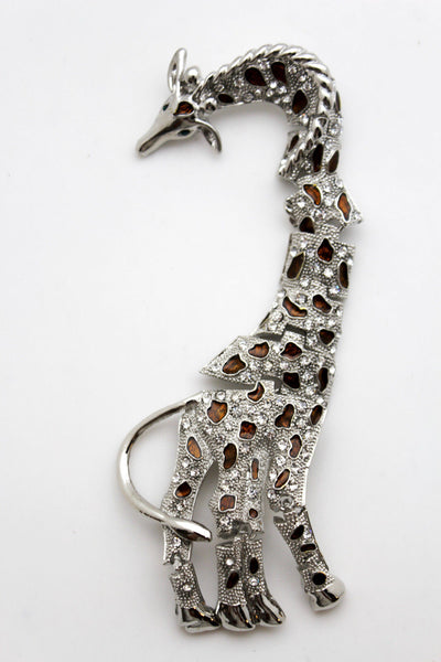 Silver Metal  Shoulder Jewelry Broach Giraffe Pin Rhinestones New Women Fashion Accessories