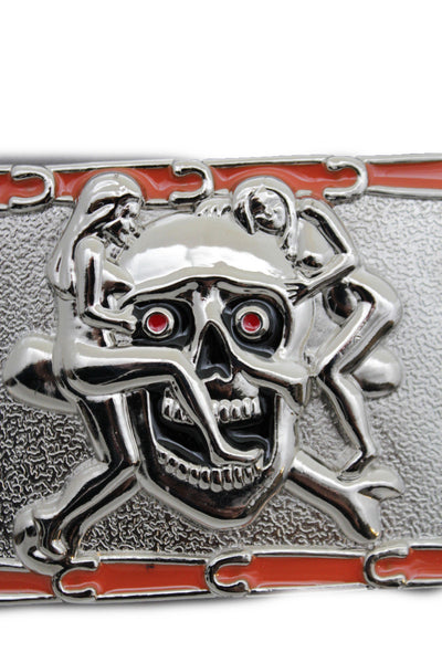 Silver Metal Skull Skeleton Bone Pirate Belt Buckle Halloween Sexy Ladies Men Women Accessories