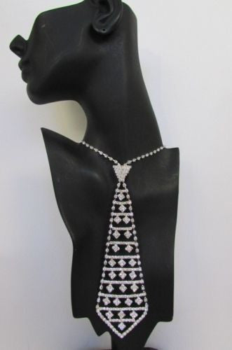 "Silver Metal Squares Rhinestones Neck Tie Tuxedo 7""  Necklace New Women Men Fashion Accessories"