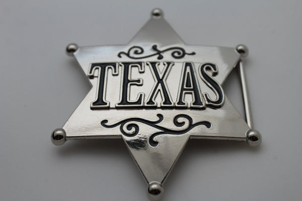 Silver Metal Texas Lone Star Big Sheriff Tag Belt Buckle Western Men Fashion Accessories