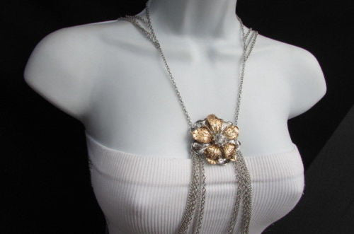 Silver Metal Thin Body Chain Big Gold Flower Pendant New Women Trendy Fashion Jewelry Accessories