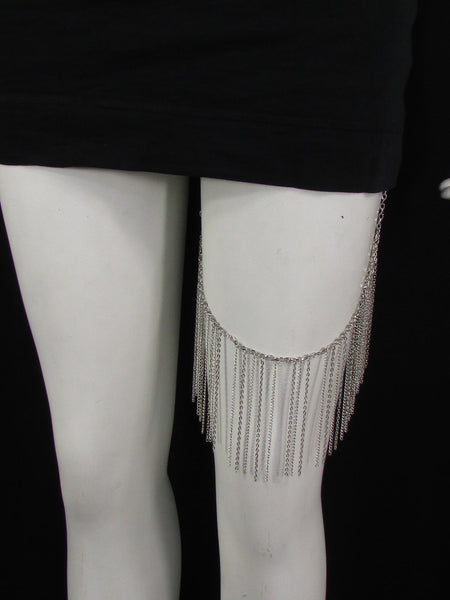 Silver Metal Trendy Long Leg Armor Chains Body Tassel  New Women Fashion Accessories