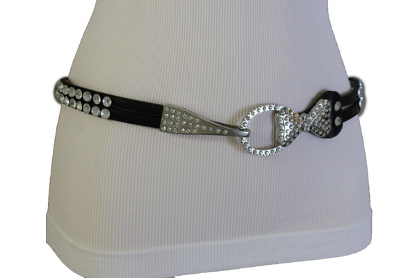 Silver Metal Western Skinny Black Belt Bow Double Bling Buckle Women Accessories S M L XL
