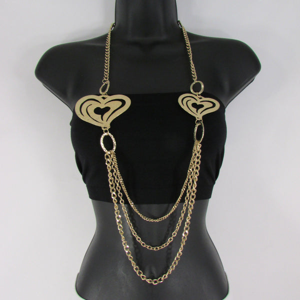 Silver Or Gold Metal Chains Multi Strands 2 Thin Hearts Long Necklace New Women Fashion Accessories