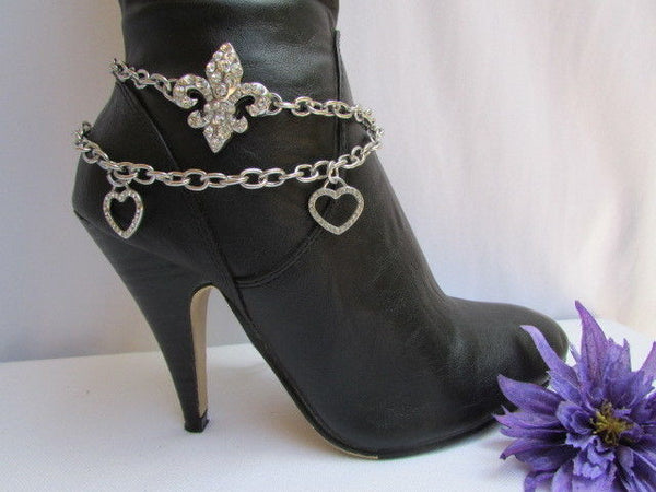 Silver Rhinestones Boot Chain Western Shoe Charm Fleur De Lis Hearts New Women Accessories