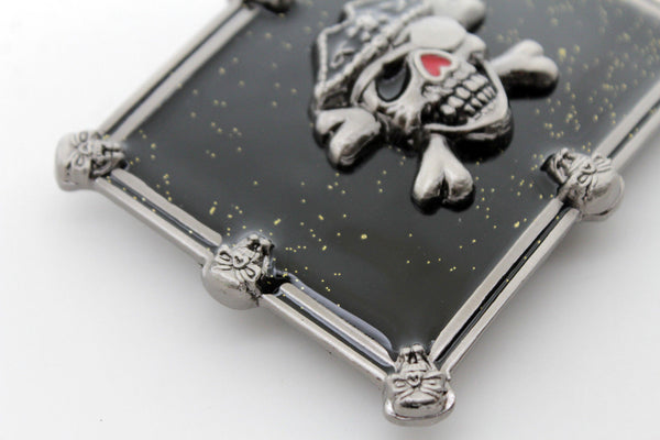 Silver Skulls Skeleton Black Pirate Death Big Gothic Halloween New Men Women Western Accessories