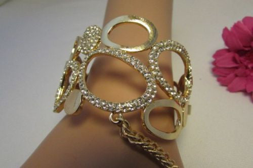 Gold Silver Wide Metal Hand Chain Cuff Bracelet Slave Ring Rain Drops Oval Multi Rhinestones New Women Fashion Accessories