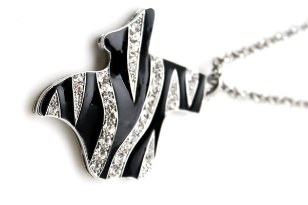Silver Zebra Metal Chain Texas State Map Pendant Western Necklace New Women Fashion Jewelry Accessories