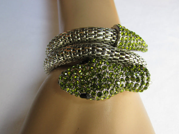 Silver Metal Cuff Bracelet Wrap Black Green Rhinestones Snake Head New Women Fashion Jewelry Accessories - alwaystyle4you - 11