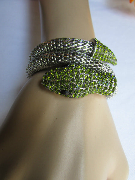 Silver Metal Cuff Bracelet Wrap Black Green Rhinestones Snake Head New Women Fashion Jewelry Accessories - alwaystyle4you - 1