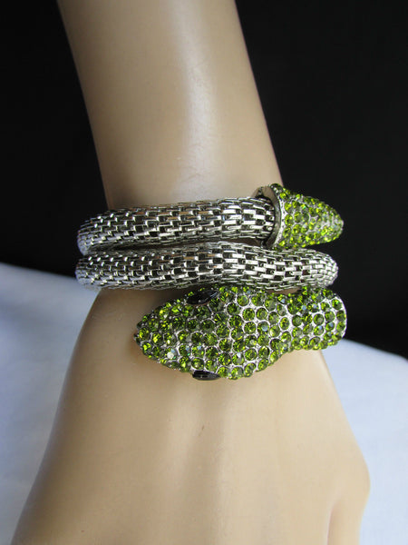 Silver Metal Cuff Bracelet Wrap Black Green Rhinestones Snake Head New Women Accessories