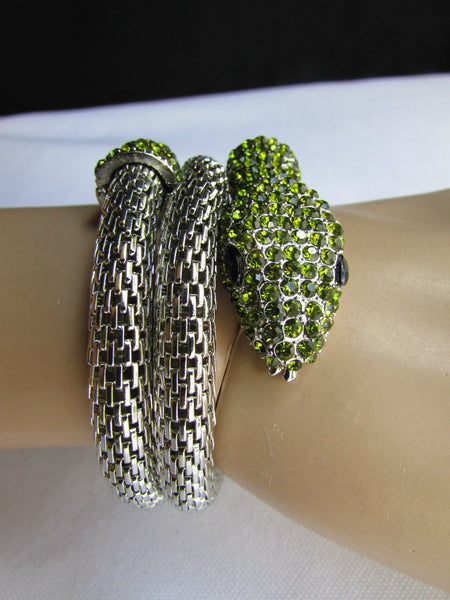 Silver Metal Cuff Bracelet Wrap Black Green Rhinestones Snake Head New Women Fashion Jewelry Accessories - alwaystyle4you - 3