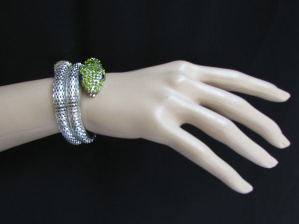 Silver Metal Cuff Bracelet Wrap Black Green Rhinestones Snake Head New Women Fashion Jewelry Accessories - alwaystyle4you - 4