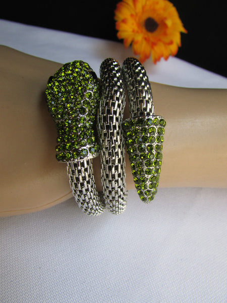 Silver Metal Cuff Bracelet Wrap Black Green Rhinestones Snake Head New Women Fashion Jewelry Accessories - alwaystyle4you - 7