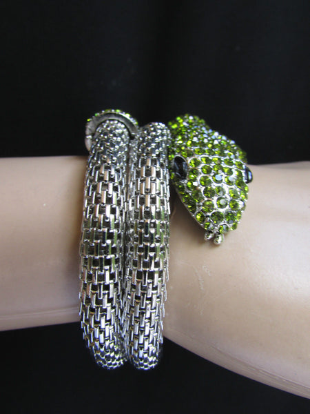 Silver Metal Cuff Bracelet Wrap Black Green Rhinestones Snake Head New Women Fashion Jewelry Accessories - alwaystyle4you - 10