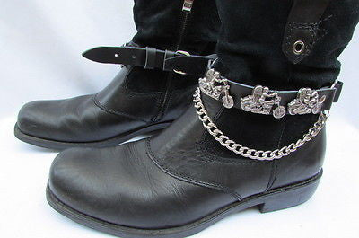 Biker Men Western Women Boot Silver Chain Pair Leather Motorcycle Boot Accessory - alwaystyle4you - 11