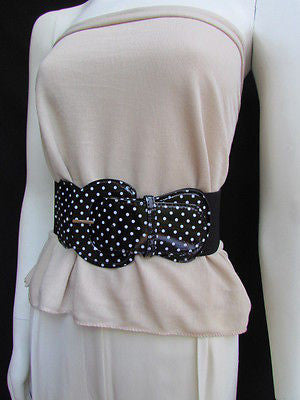 Black Blue Blue Royal Red White Low Hip / High Waist Stretch Wide Elastic White Polka Dots Stretch Belt New Women Fashion Accessories - alwaystyle4you - 13