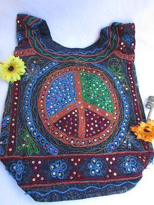 New Women Cross Body Fabric Fashion Messenger Hand Bag Big Peace Sign Black Red Blue - alwaystyle4you - 100