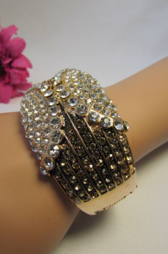 Gold / Silver Metal Retro Bracelet Cuff Multi Rhinestones New Women Fashion Jewelry Accessories - alwaystyle4you - 18