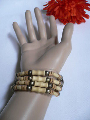 Beige Brown Wood Cream / Brown Bracelet Gold Dots Beads Native Style Fashion New Women Jewelry Accessories - alwaystyle4you - 10