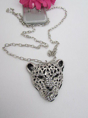 Ny Chic Women Silver Black Leopard Necklace Tiger Head Pendant Rhinestones Long - alwaystyle4you - 6