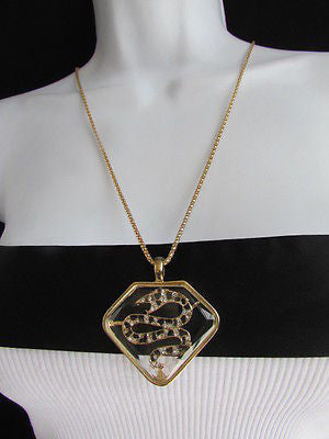 Women Gold Metal Chains Fashion Necklace Big Snake Pendant Silver Rhinestones - alwaystyle4you - 3