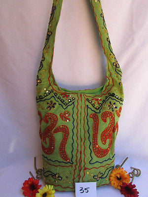 Green Orange Brown Cross Body Messenger Hand Fabric India Sign New Women Fashion