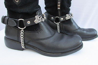Biker Men Western Women Boot Silver Chain Pair Leather Motorcycle Boot Accessory - alwaystyle4you - 5